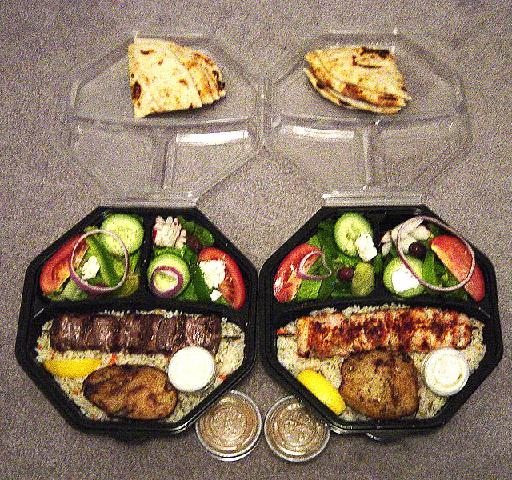 Souvlaki platter prepared for takeaway